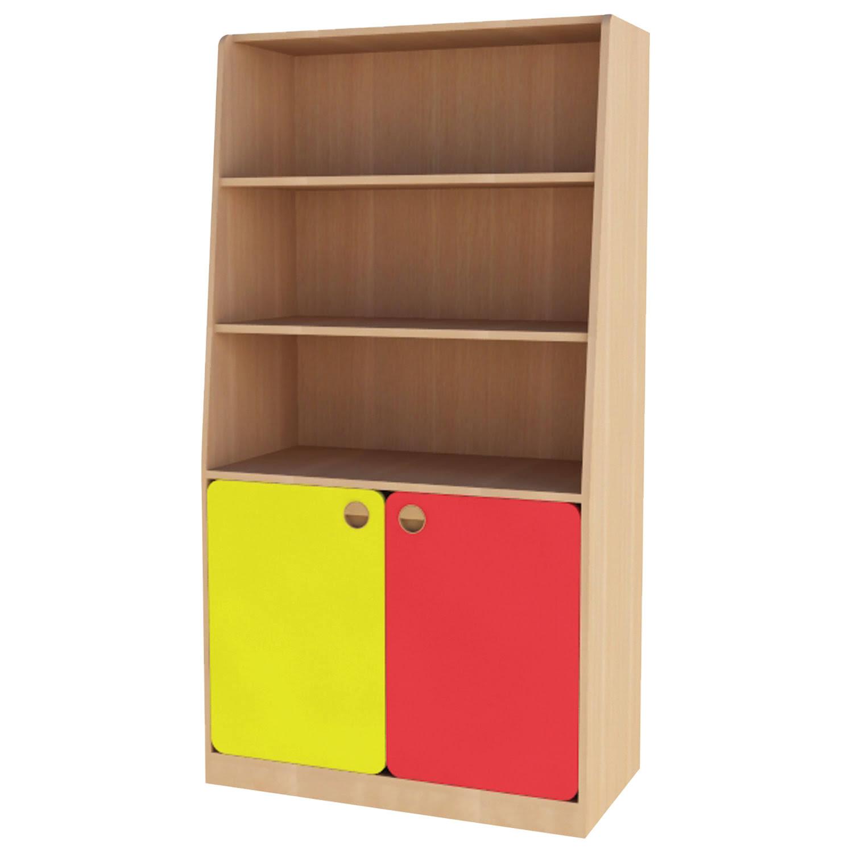 Купить Шкаф для игрушек детский, 800х400х1500 мм, ЛДСП, бук бавария/цветной фасад, NoName, Шкафы в детскую комнату