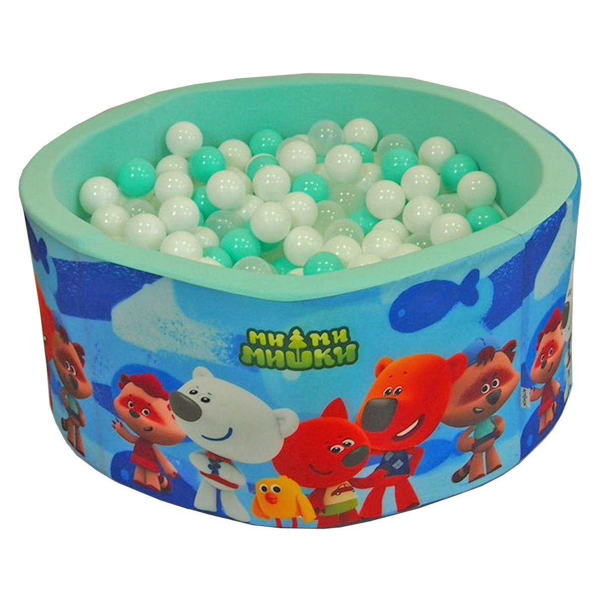 Сухой бассейн Hotenok МиМиМишки Синий с мятным, 100х40 см + 200 шариков