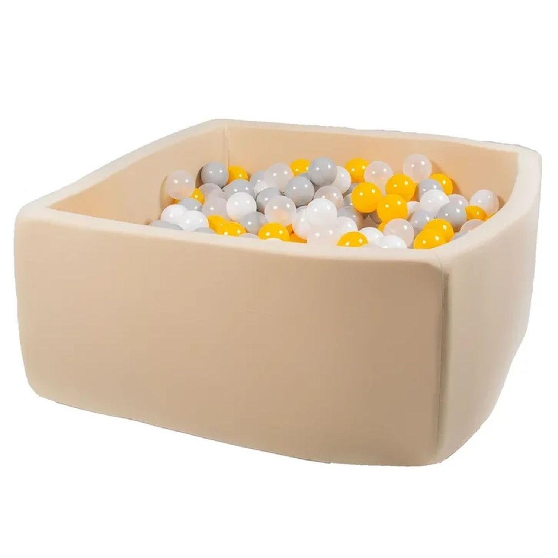 Купить Сухой бассейн Hotenok Квадро Жемчужные лучики, бежевый, 40 см + 200 шариков,