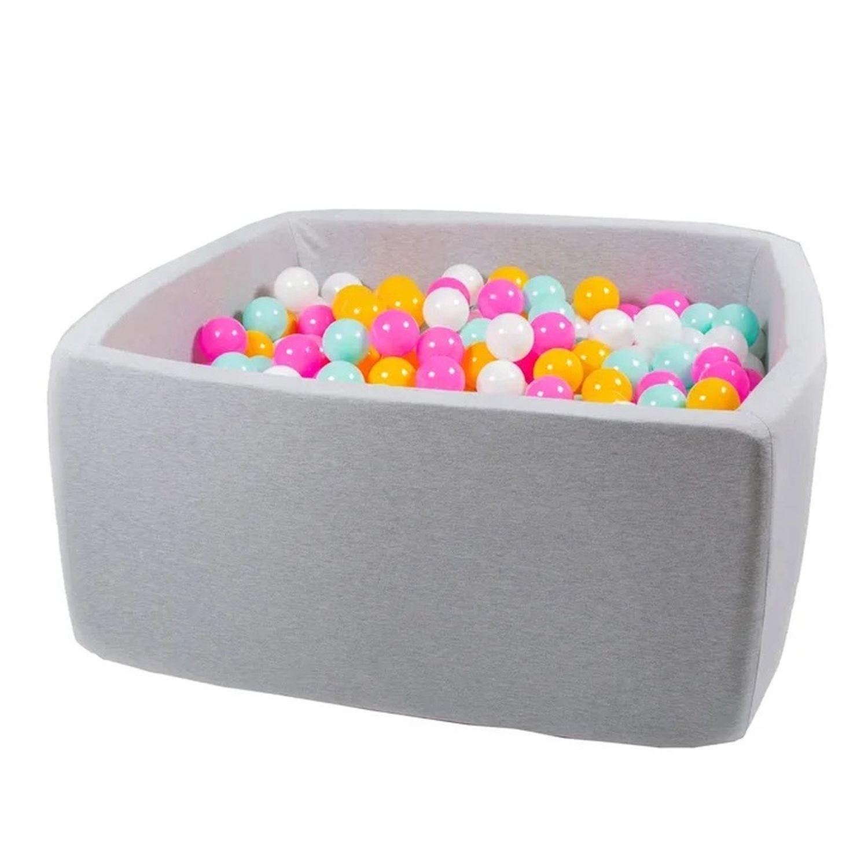 Купить Сухой бассейн Hotenok Квадро Радужный, серый, 40 см + 200 шариков,