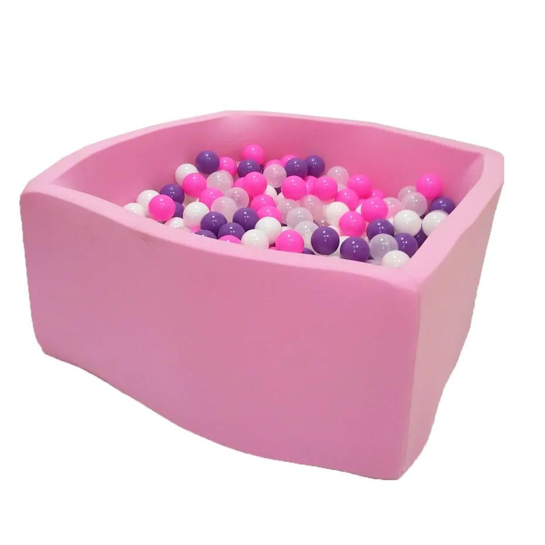 Сухой бассейн Hotenok Квадро Фиолетовые пузыри, розовый, 40 см + 200 шариков