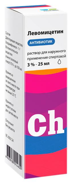 Левомицетин раствор спирт.буфус 3% 25 мл Renewal