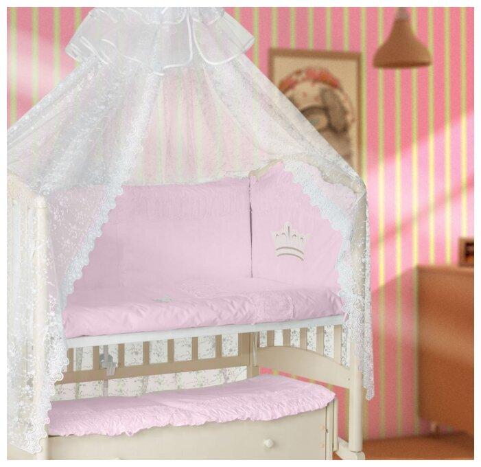 Купить Комплект в кроватку Мой Ангелок Корона розовый, 7 предметов,