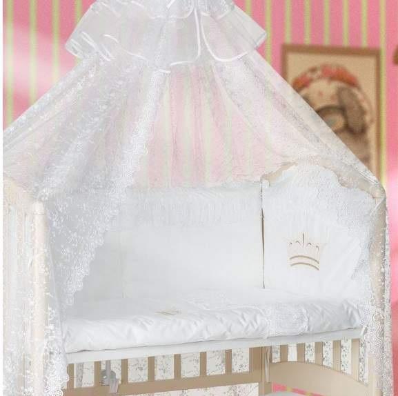 Купить Комплект в кроватку Мой Ангелок Корона голубой, 7 предметов,