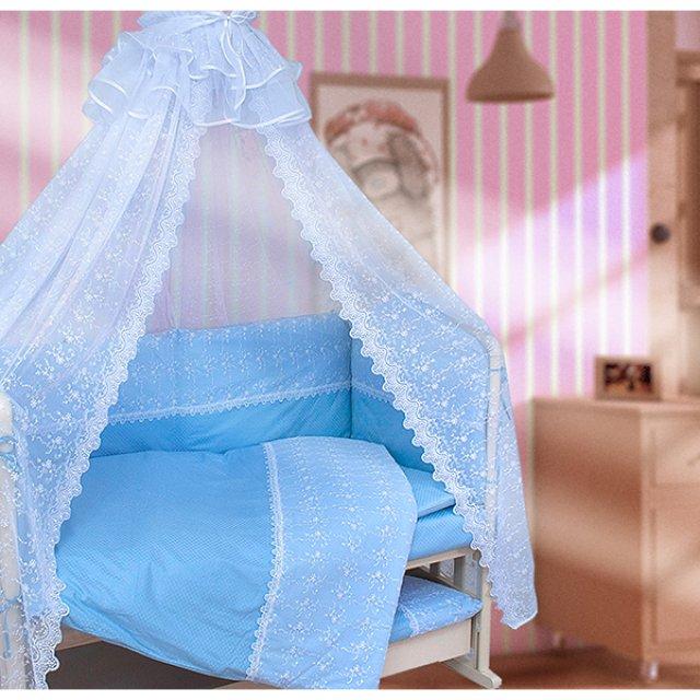 Купить Комплект в кроватку Мой Ангелок Кружева голубой, 7 предметов,