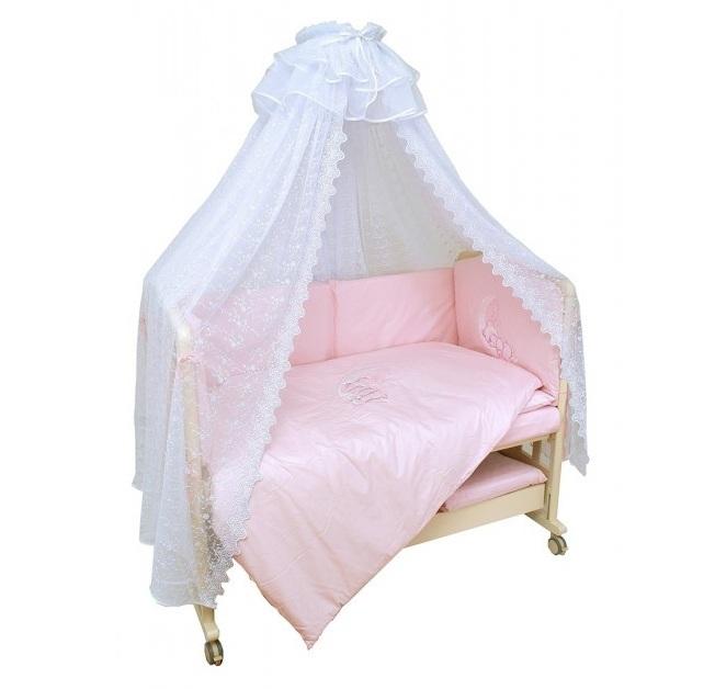 Купить Комплект в кроватку Мой Ангелок Лунный друг розовый, 7 предметов,