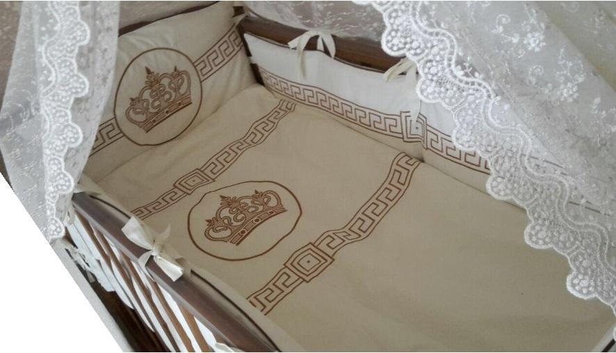 Купить Комплект в кроватку Мой Ангелок Императорский молочный/орех, 7 предметов,