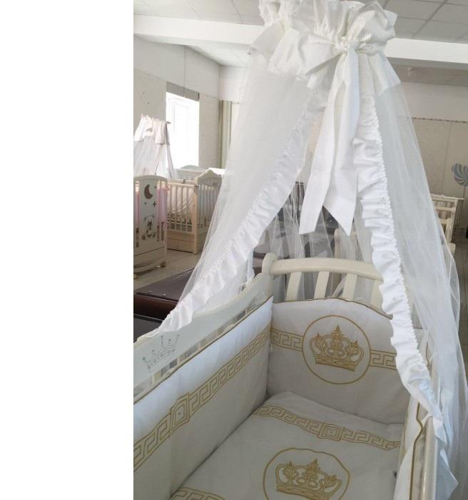 Купить Комплект в кроватку Мой Ангелок Императорский белый/золото, 7 предметов,