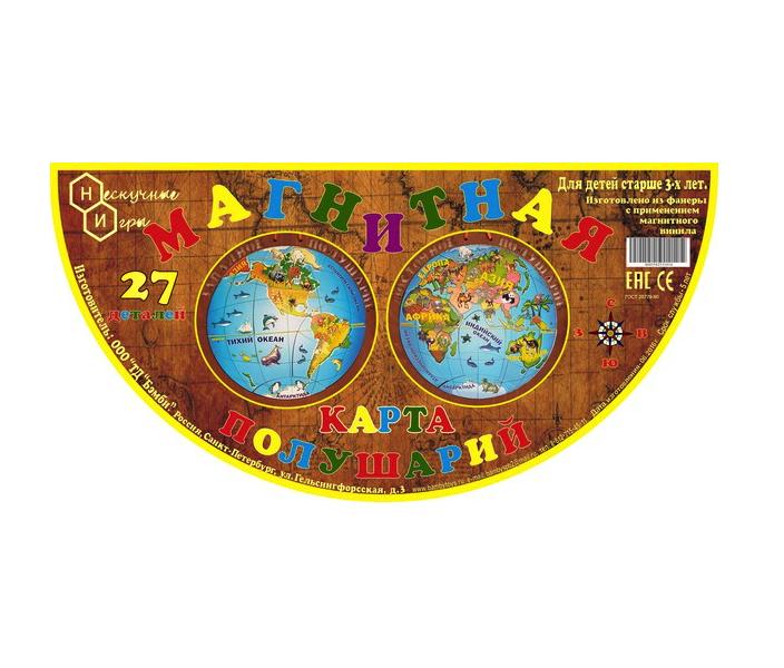 Магнитная карта полушарий 2 сторонняя, 27 деталей Бэмби