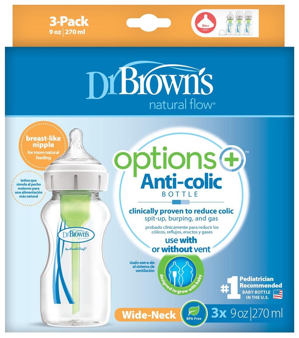 Купить Набор бутылочек 3 шт. Dr. Brown's Антиколиковые с широким горлышком 270 мл, Dr. Brown's,