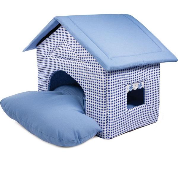 Домик для кошек и собак Gamma Садовый, голубой, 50x46x45см