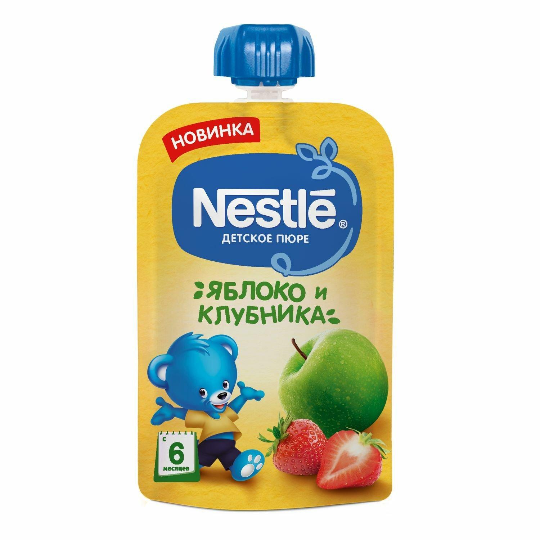 Пюре фруктовое Nestle Яблоко Клубника, 8x90 г