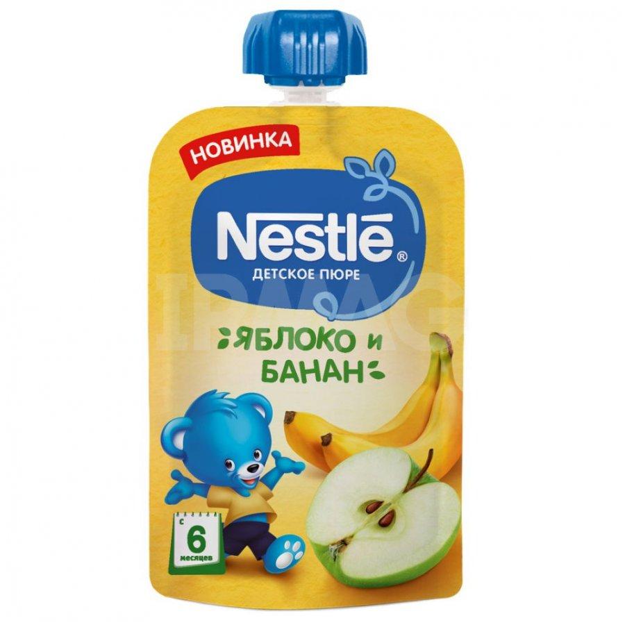 Пюре фруктовое Nestle Яблоко Банан, 8x90 г
