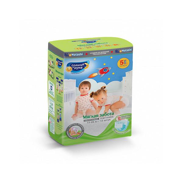 Купить Подгузники для детей Солнце и Луна Мягкая забота 5/XL (11-25 кг), 12 шт.