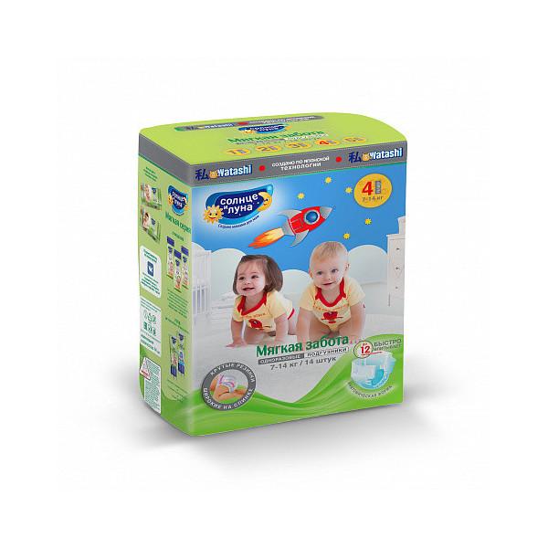 Купить Подгузники для детей Солнце и Луна Мягкая забота 4/L (7-14 кг), 14 шт.
