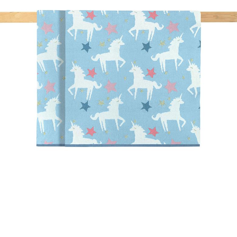 Плед детский Aryahome Unicorn голубой, 80х100 см
