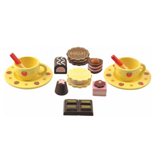 Купить Набор Чайный Мир Деревянных Игрушек Д120 2 чашки и сладости, Игрушечная посуда