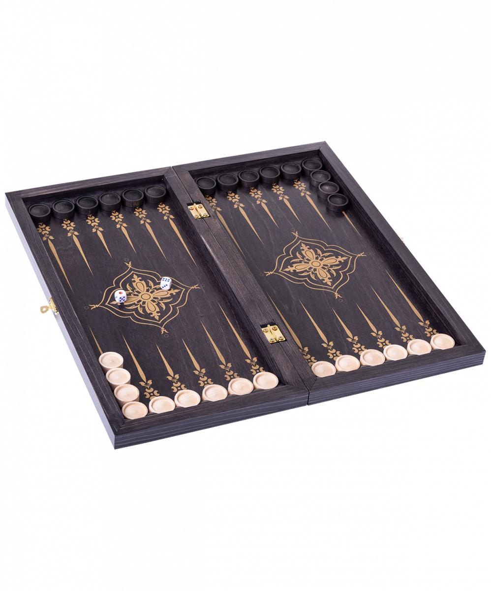 Купить Нарды Лилии 145-17 малые, 400х200х40 мм, черно-золотой, ОБЪЕДОВСКАЯ ФАБРИКА ИГРУШКИ ,
