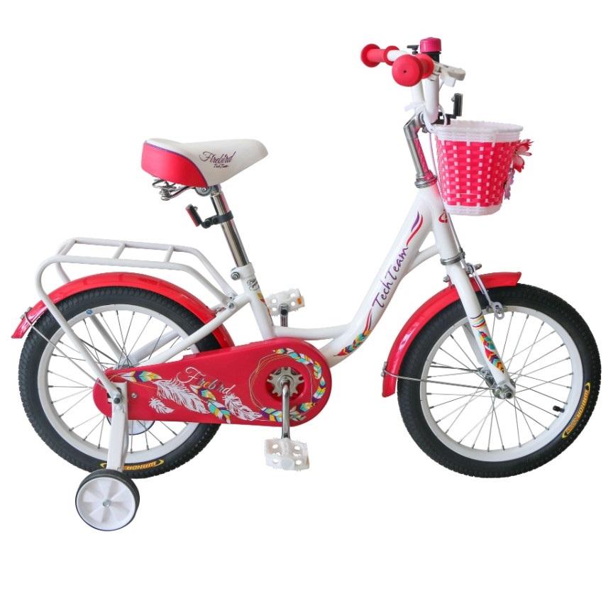 Купить Детский велосипед Tech Team Firebird 18 2020 белый с красным, Детские двухколесные велосипеды