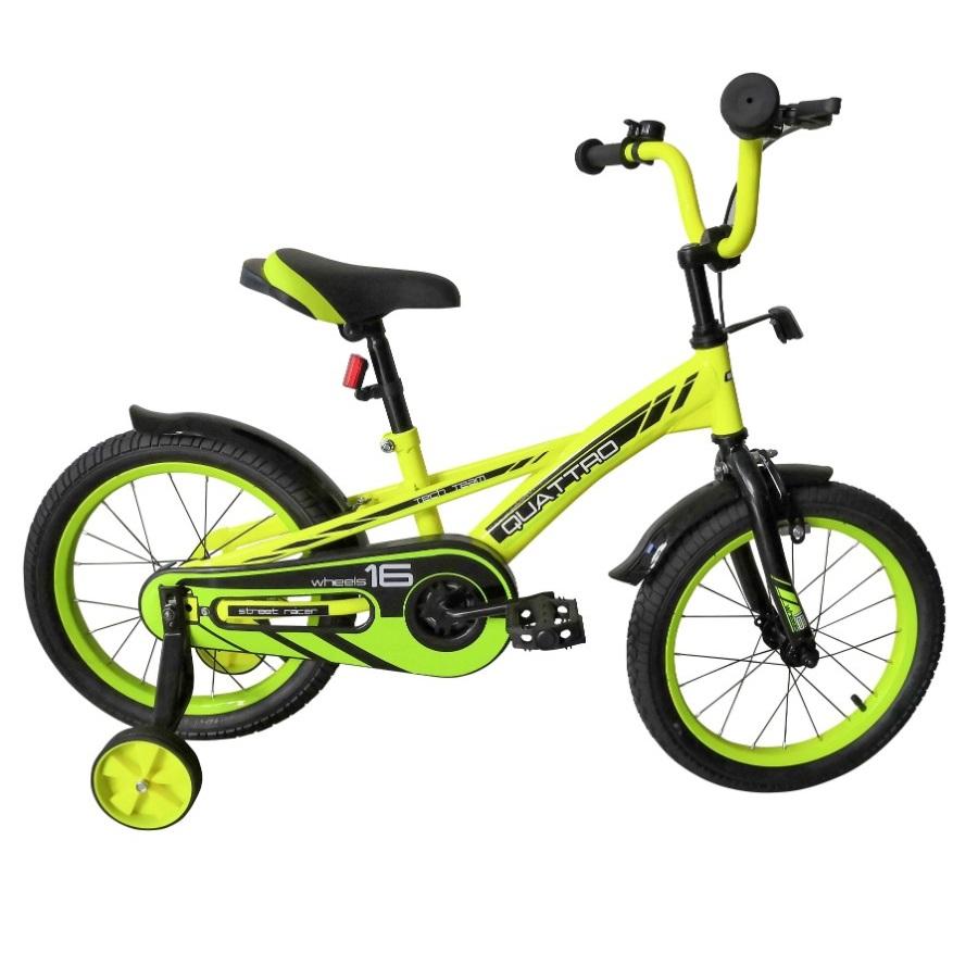 Купить Детский велосипед Tech Team Quattro 14 2020 салатовый, Детские двухколесные велосипеды
