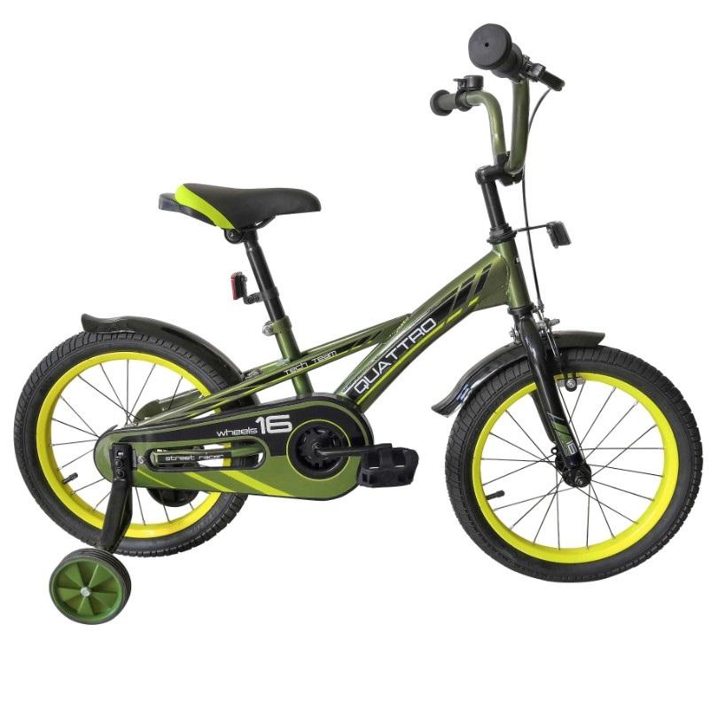 Купить Детский велосипед Tech Team Quattro 16 2020 хаки, Детские двухколесные велосипеды