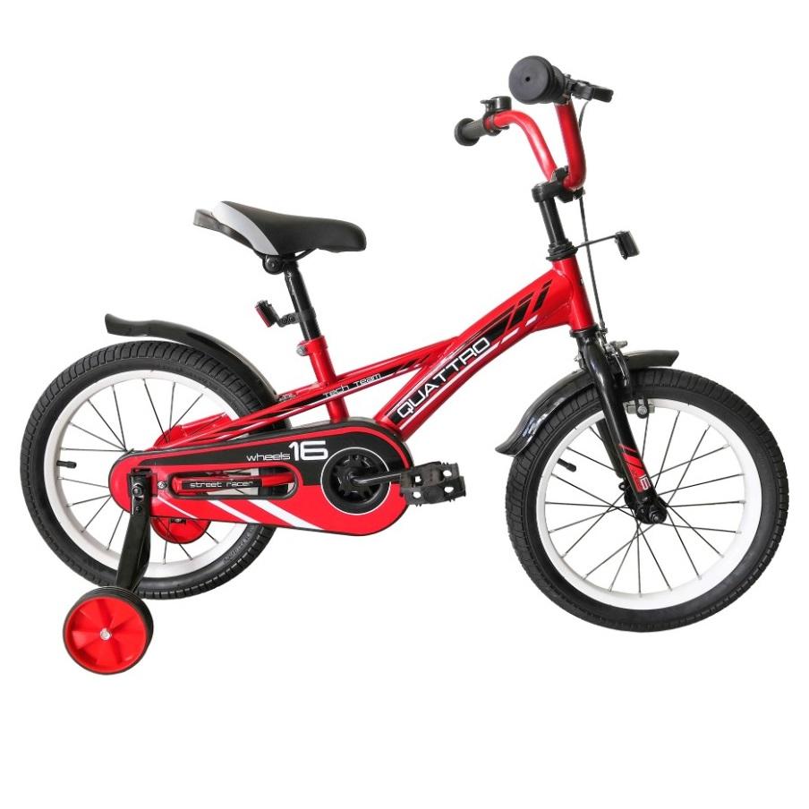 Купить Детский велосипед Tech Team Quattro 16 2020 красный, Детские двухколесные велосипеды