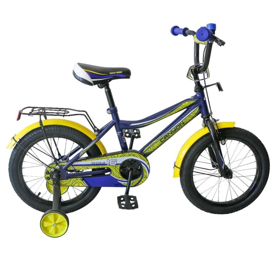 Купить Детский велосипед Tech Team Canyon 14 2020 синий с желтым, Детские двухколесные велосипеды