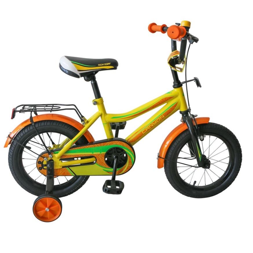 Купить Детский велосипед Tech Team Canyon 14 2020 желтый с оранжевым, Детские двухколесные велосипеды