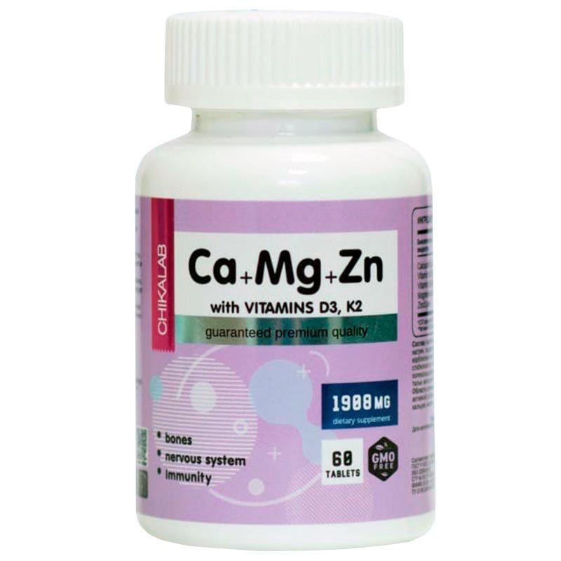 Купить Кальций-магний-цинк Chikalab BOMBBAR Calcium Zinc Magnesium + D3 K2 таблетки 60 шт.