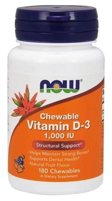 Купить NOW Chewable Vitamin D3 1000 IU 180 шт.