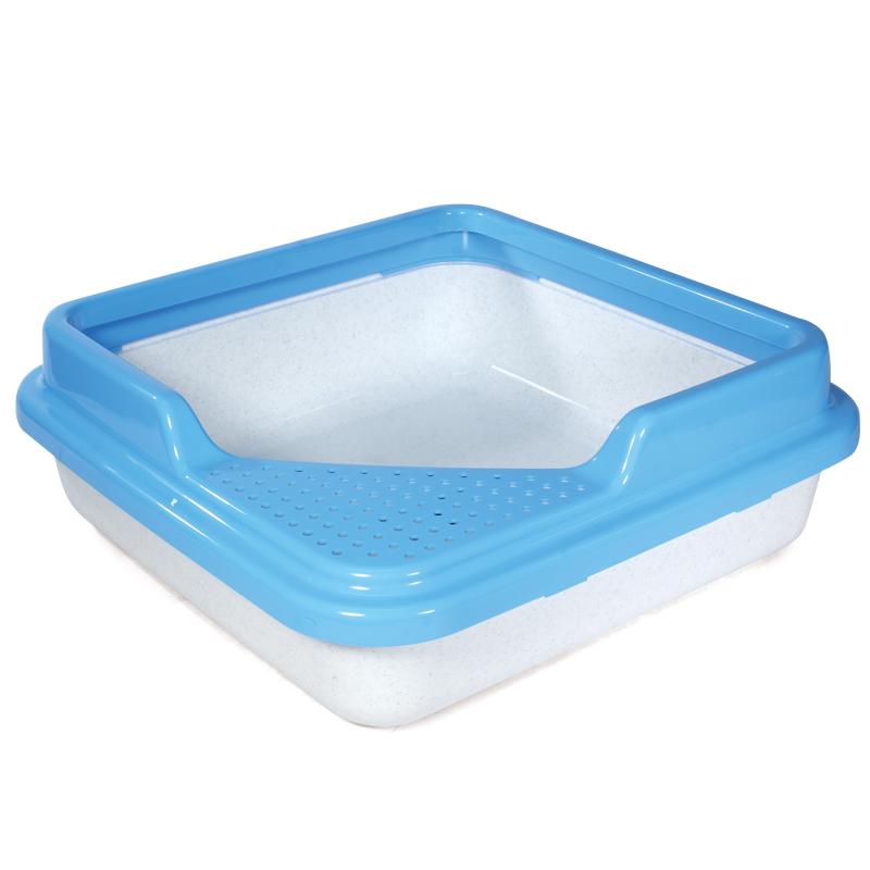Туалет P755 для кошек квадратный с бортом, белый мрамор, 435*435*145мм, Triol