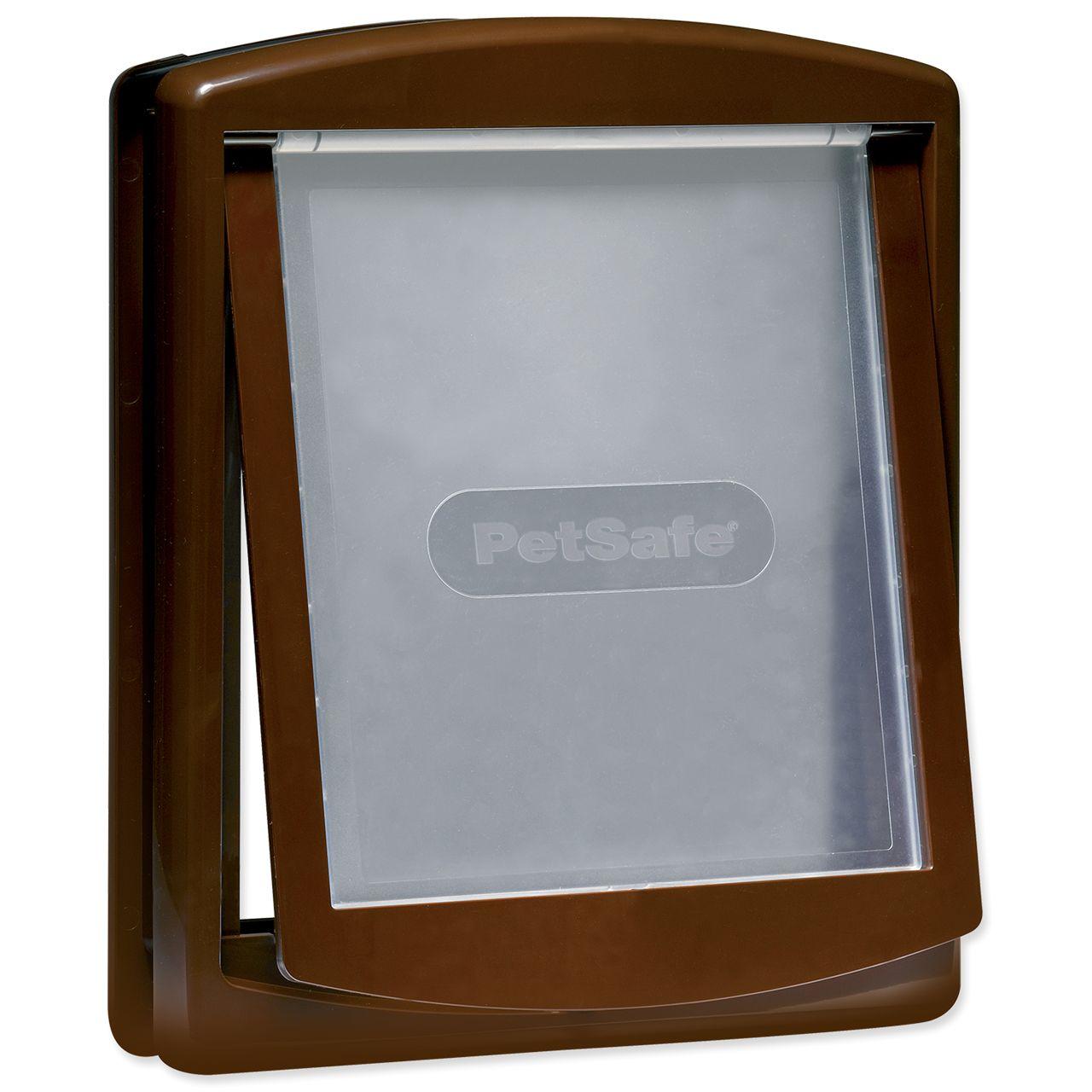 дверка пластиковая для животных, коричневая рама, прозрачная