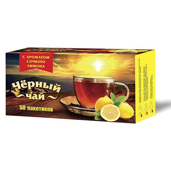 Чай Императорский черный байховый мелкий с ароматом лимона 50 пакетиков фото
