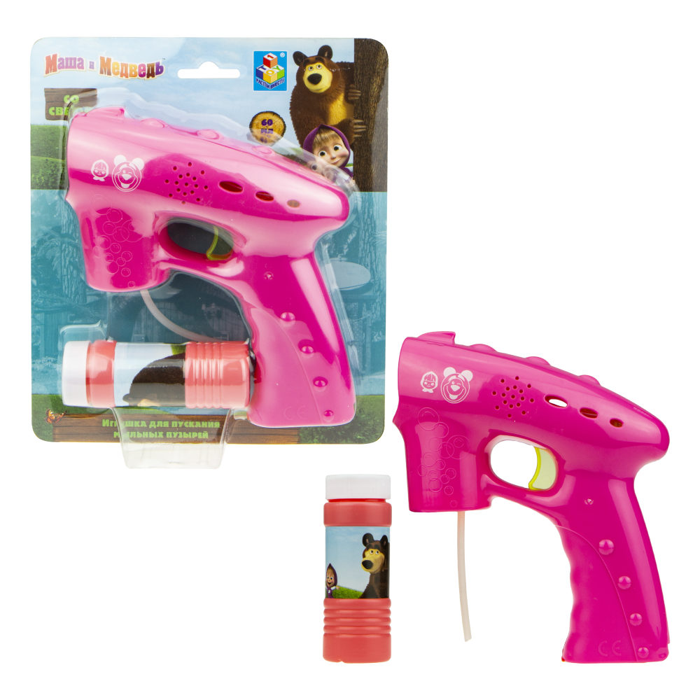 Мыльные пузыри Маша и Медведь, пистолет, световые