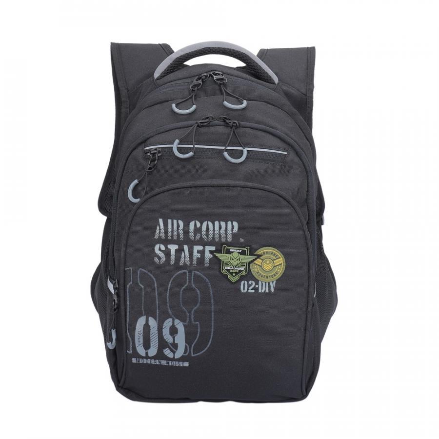 Купить Школьный рюкзак Grizzly для мальчика RB-050-2/3 черный - серый, Школьные рюкзаки для мальчиков