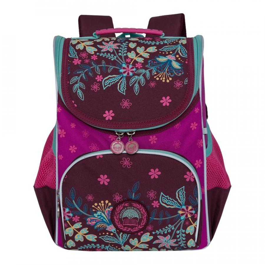Купить RAm-084-2, Школьный рюкзак Grizzly для девочки фиолетовый/фуксия, Школьные рюкзаки для девочек