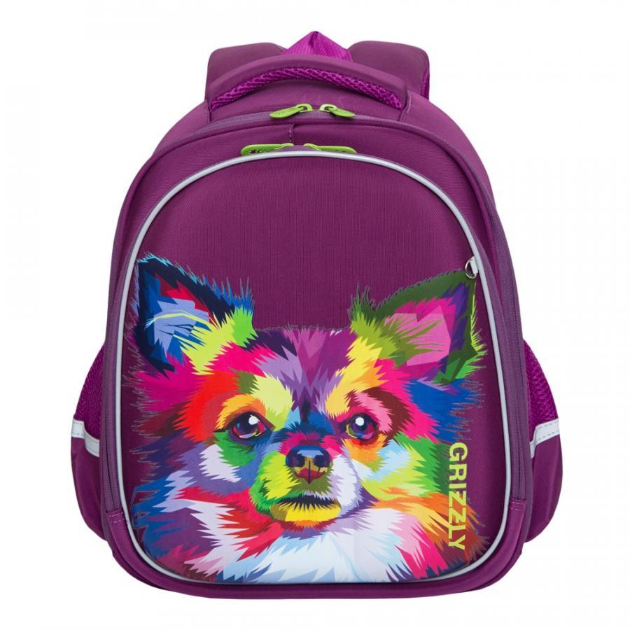 Купить RAz-086-13, Школьный рюкзак Grizzly для девочки фиолетовый собачка, Школьные рюкзаки для девочек