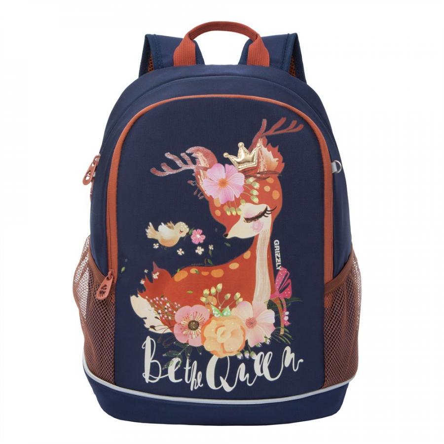 Рюкзак детский Grizzly для девочки темно-синий RG-063-2
