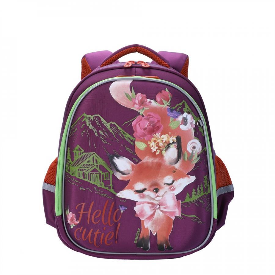 Купить RAz-086-4, Школьный рюкзак Grizzly для девочки фиолетовый Hello cutie, Школьные рюкзаки для девочек