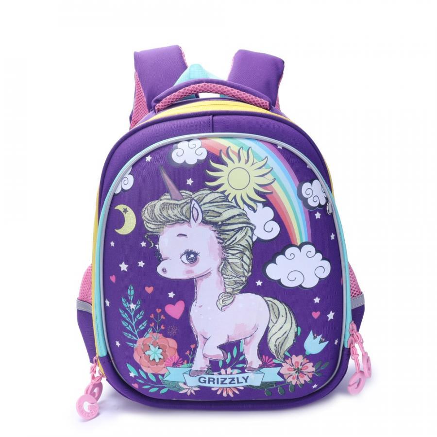 Купить RA-979-1, Школьный рюкзак Grizzly для девочки фиолетовый единорог, Школьные рюкзаки для девочек