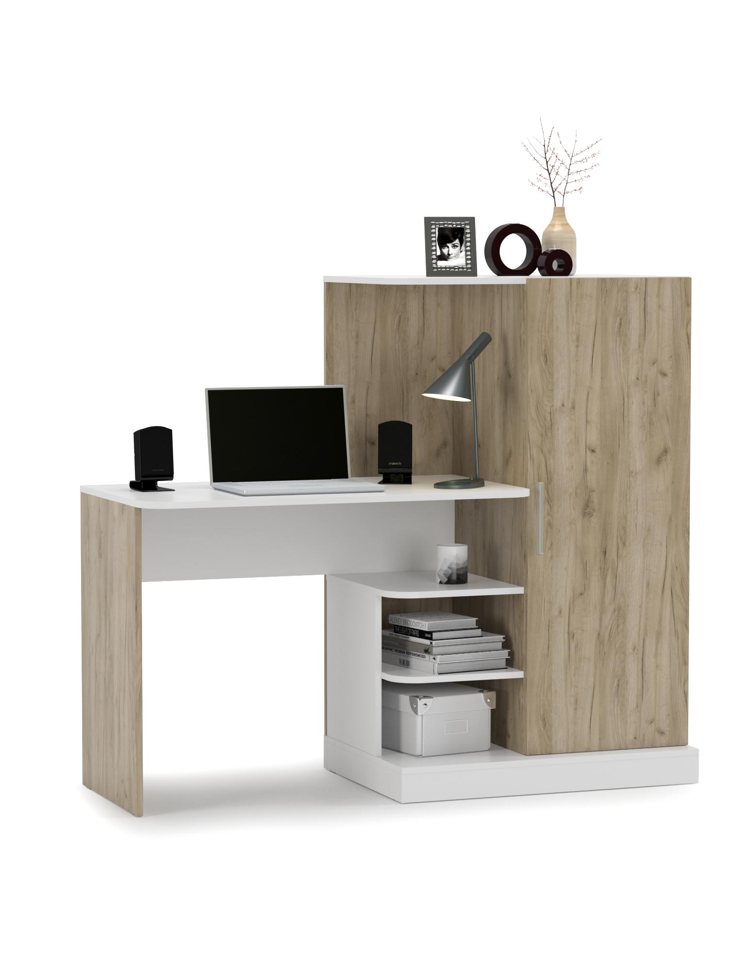 Стол компьютерный Mobi Лайт 03.247 дуб крафт серый/белый премиум, 145х56,7х126,6 см