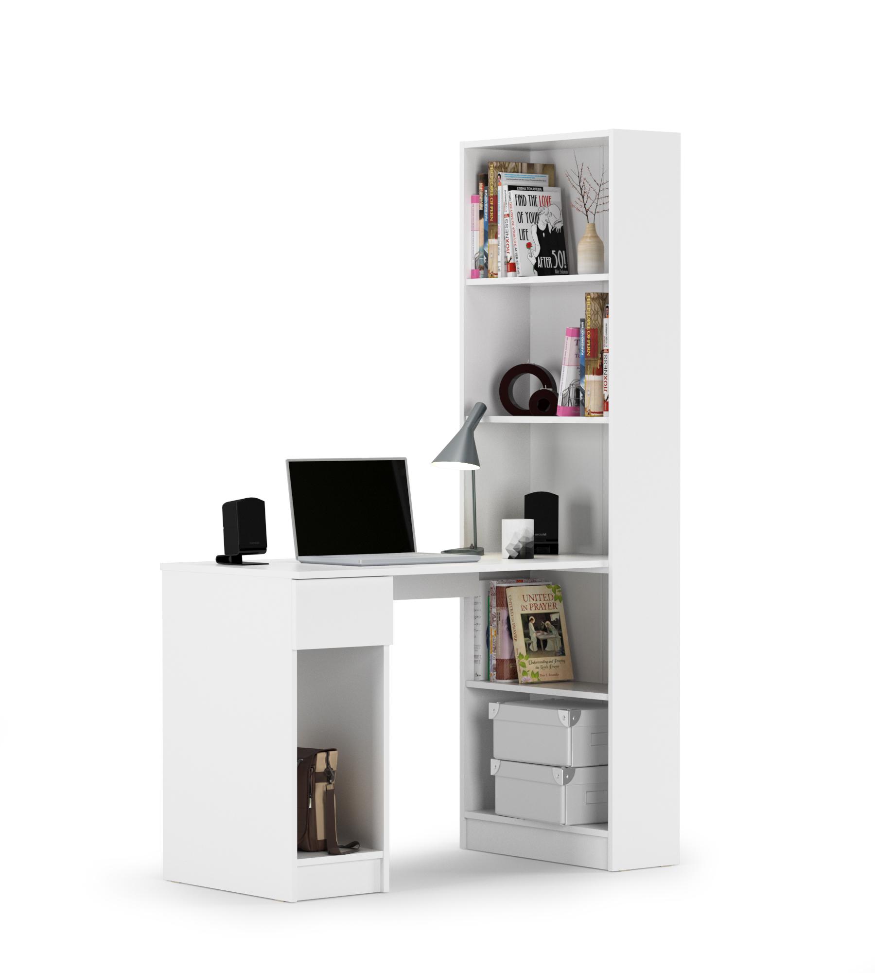 Стол компьютерный Mobi Лайт 10.01 белый, ШхГхВ 115,3х58,2х179 см., универсальная сборка