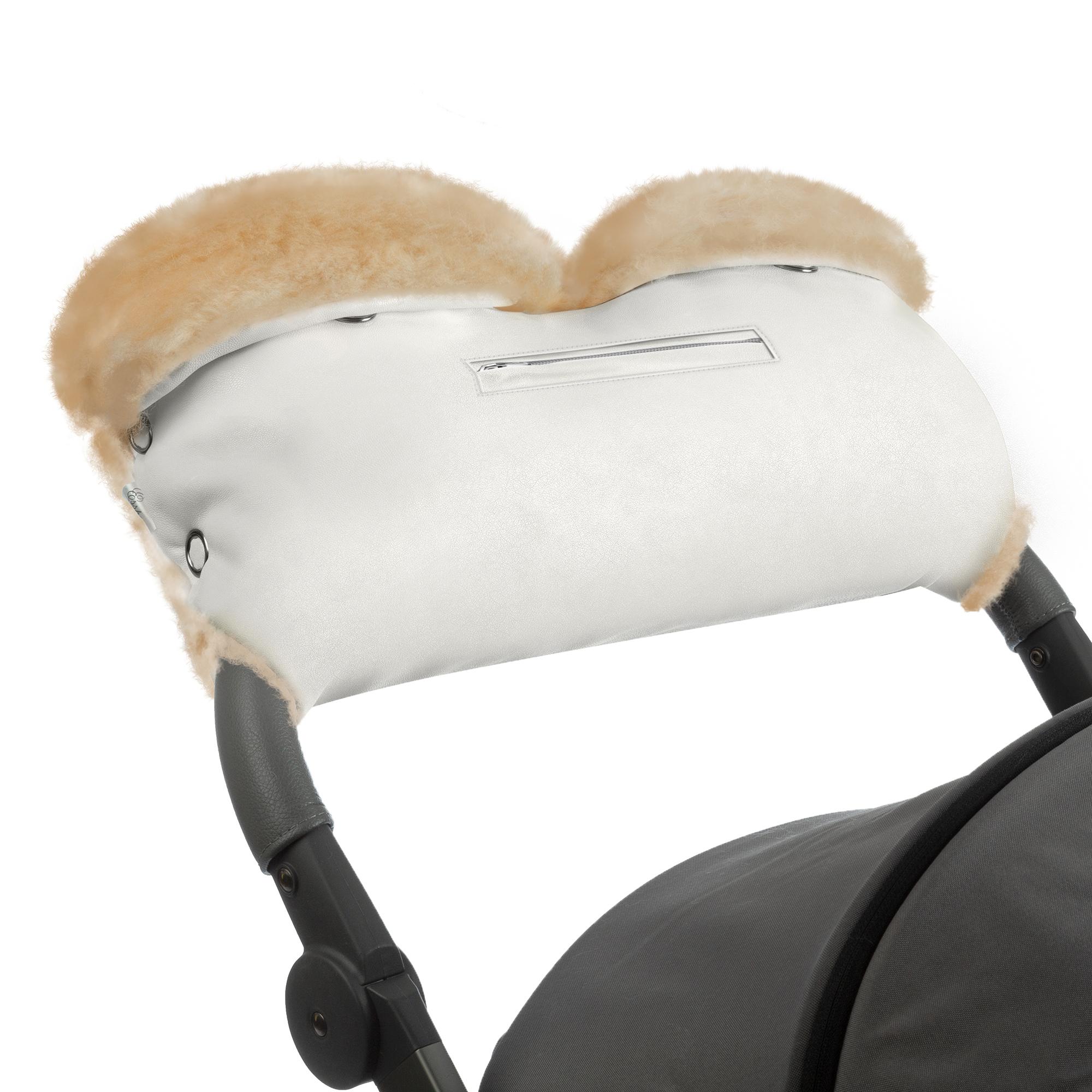 Купить Муфта для рук на коляску Esspero Isabella White 100% овечья шерсть, Муфты на коляску