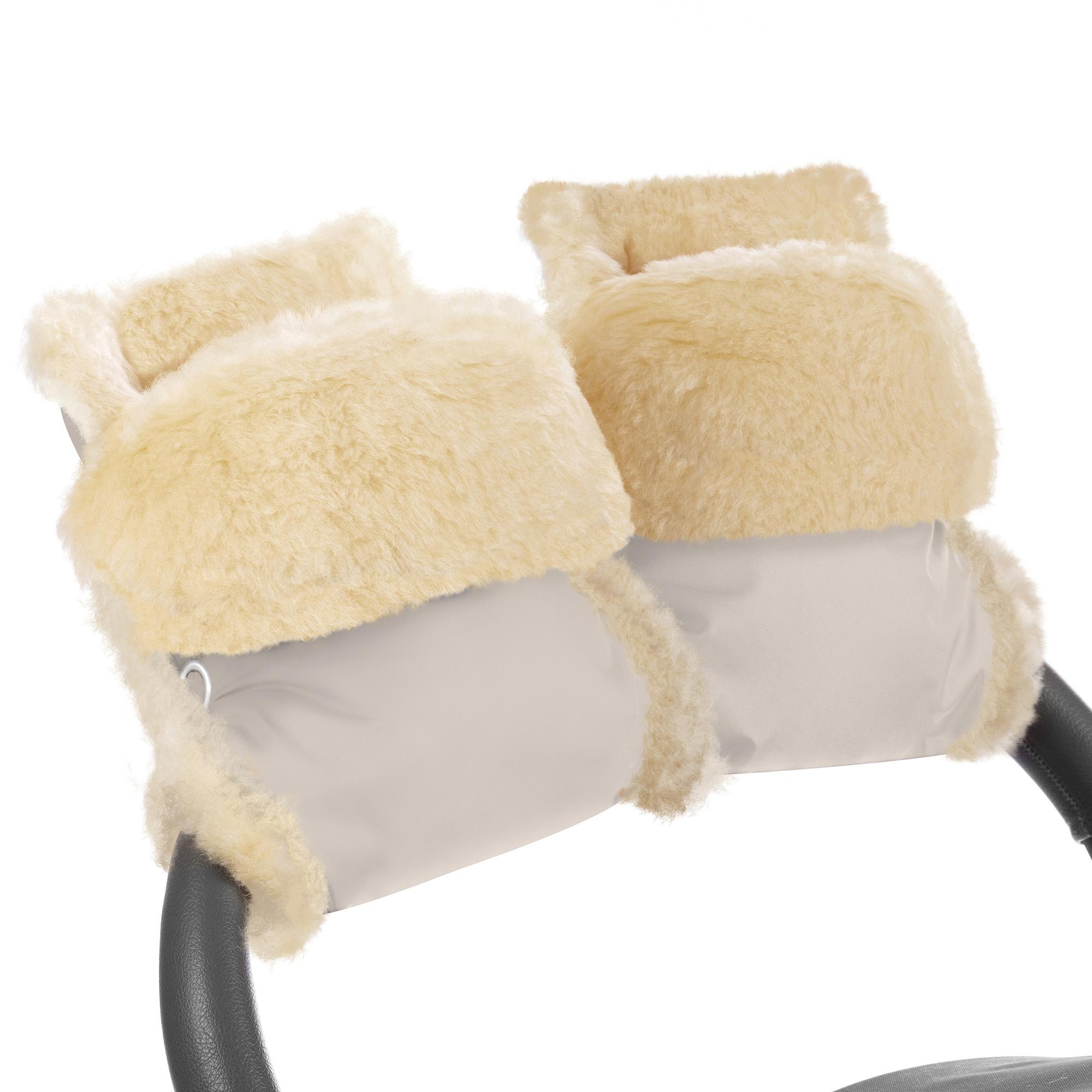 Купить Муфта-рукавички для коляски Esspero Oskar Beige Натуральная шерсть, Муфты на коляску