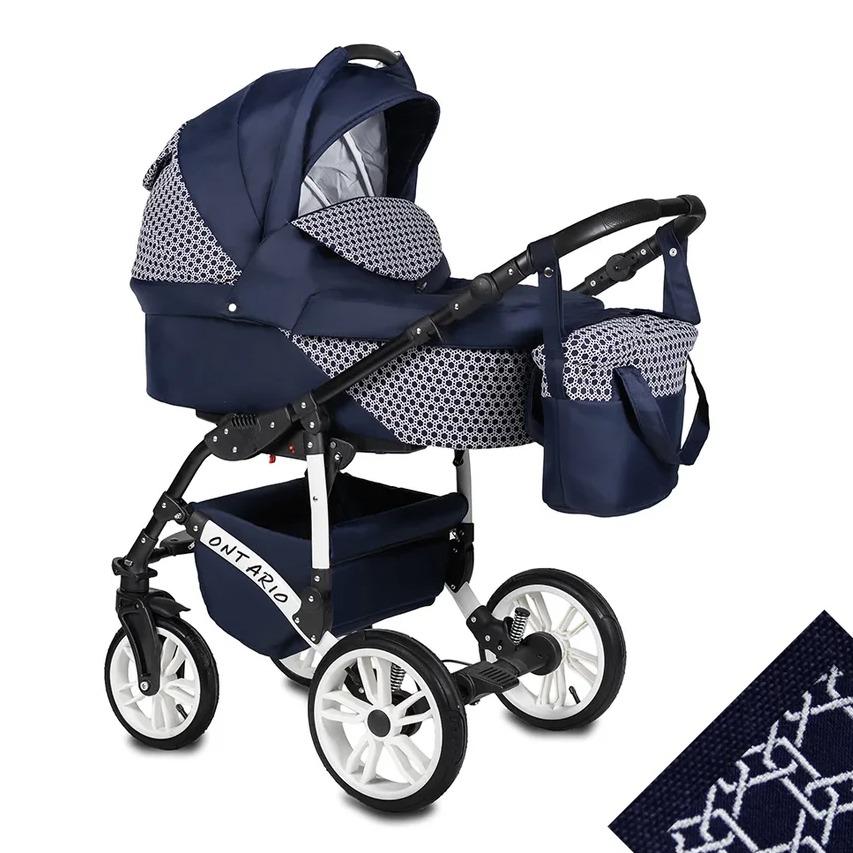 Коляска 2 в 1 Alis Ontario темно-синий/темно-синий узор, Детские коляски 2 в 1  - купить со скидкой