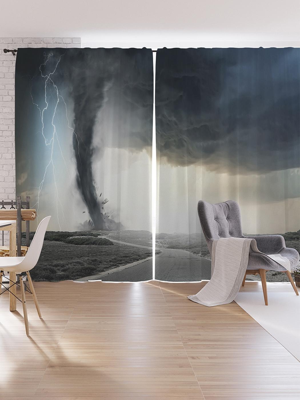 Шторы под лён JoyArty «Смерч и молнии», серия Oxford DeLux, 340х265 см фото