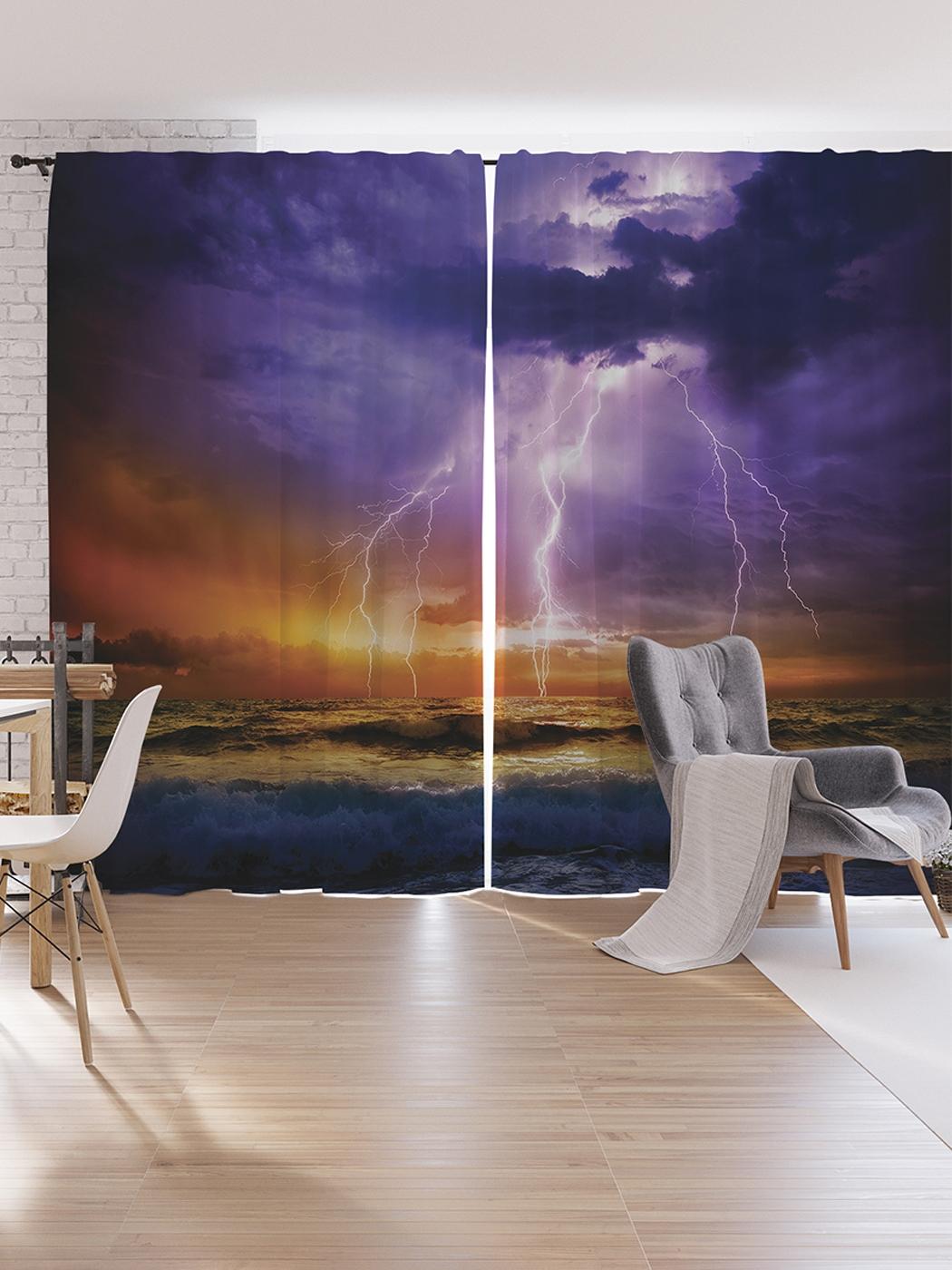 Шторы под лён JoyArty «Устрашающие молнии», серия Oxford DeLux, 340х265 см фото
