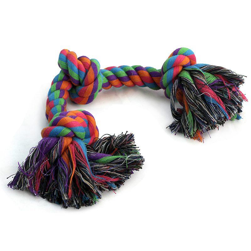 Игрушка веревочная разноцветная с 2 узлами