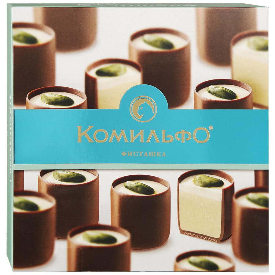 Конфеты Комильфо фисташка шоколадные с двухслойной начинкой 232 г фото