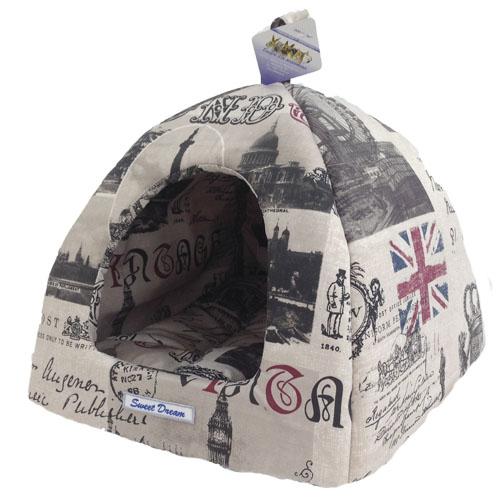 Домик для кошек и собак Бобровый Дворик Сладкий сон №2, серый, белый, красный, 42x42x38см